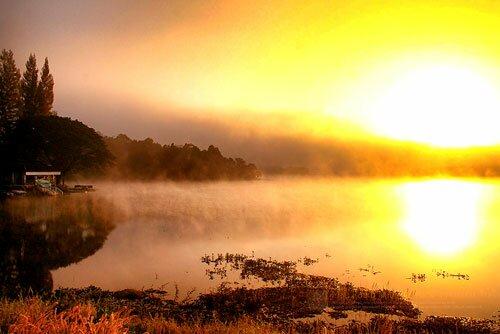 แสงแดด ไอหมอกยามเช้า อ่างเก็บน้ำแม่ปืม อุทยานแห่งชาติแม่ปืม