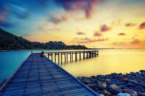 สะพานไม้ ท่าเทียบเรือ อุทยานแห่งชาติเขาแหลมหญ้า หมู่เกาะเสม็ด